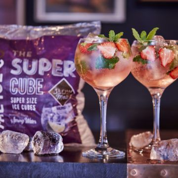 Pink Gin Cocktail And Super Cubes