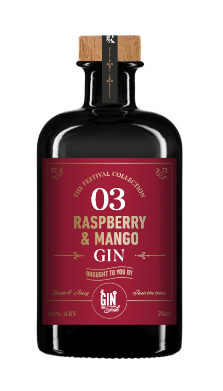 The Gin To My Tonic's No3 Limited Edition Raspberry & Mango Gin bottle on a white background