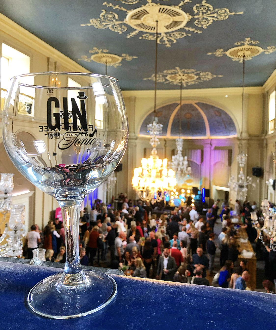 The Gin To My Tonic Branded Gin Copa Glass at a gin festival with people in the background