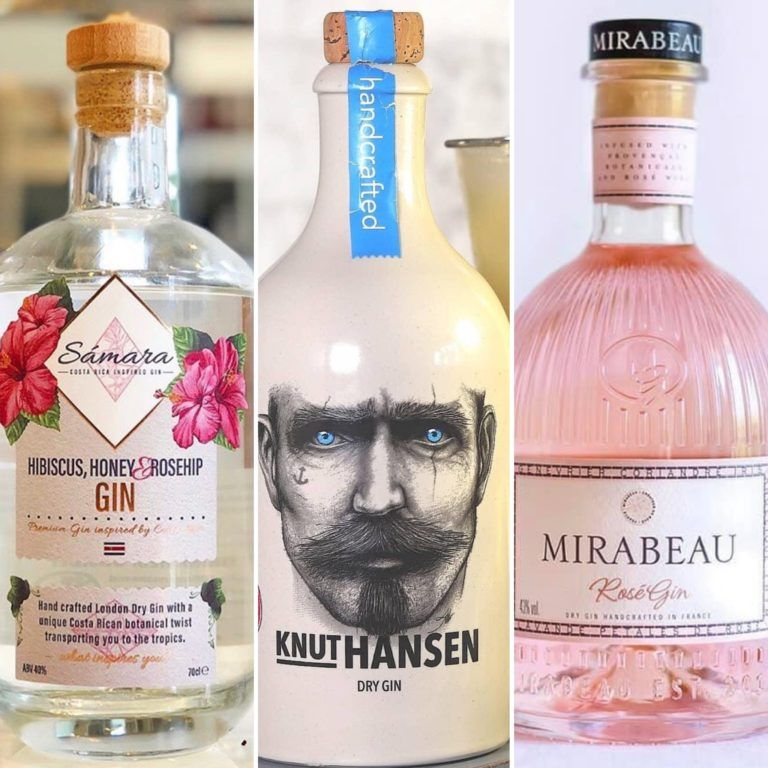 Three bottles of gin from The Gin To My Tonic. Samara Gin, Knut Hansen and Mirabeau Rose Gin. The Traveller Bundle