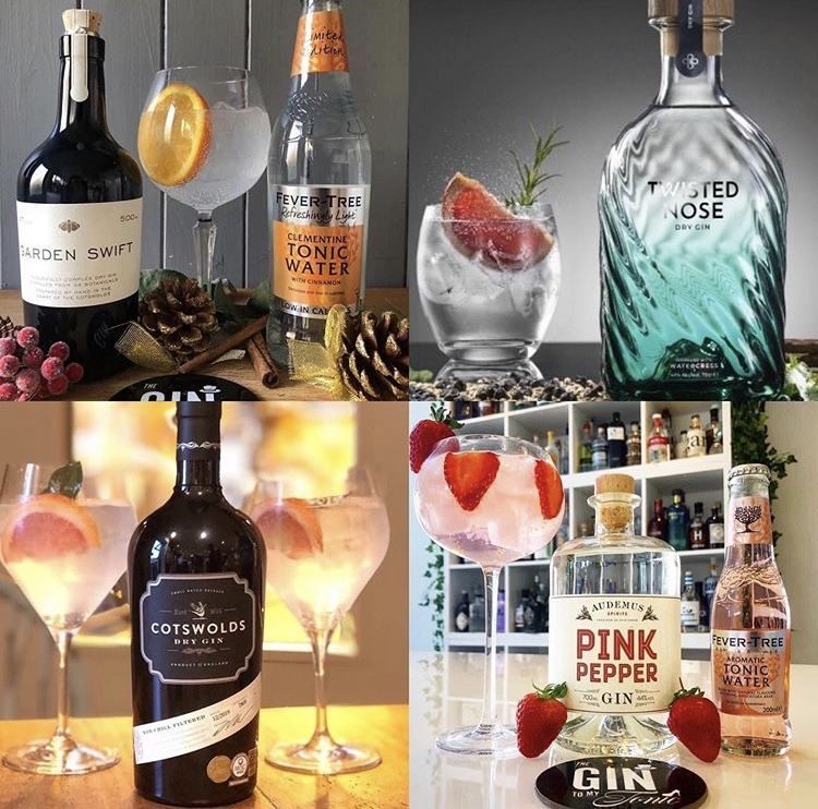 four images of gin bottles, cotswolds dry, twisted nose, cotswold gin and pink pepper gin