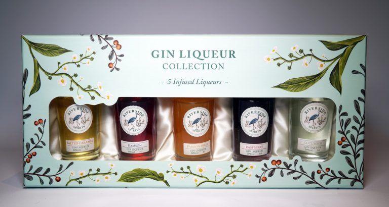 Riverside Spirits Gin Liqueur Gift Set packed on a plain background
