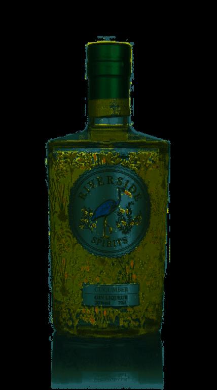 Riverside Spirits Cucumber Gin Liqueur bottle on plain background