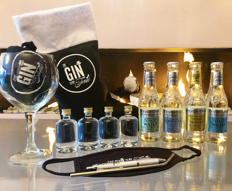 Create Your Own Gin Bundle in front of a fireplace
