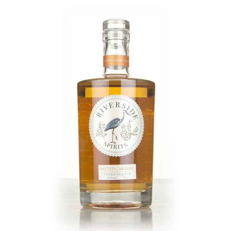 Riverside Spirits Salted Caramel Gin Liqueur bottle on white background
