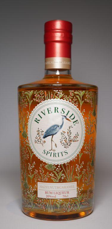 Riverside Spirits Hazelnut & Caramel Rum Liqueur bottle on plain background