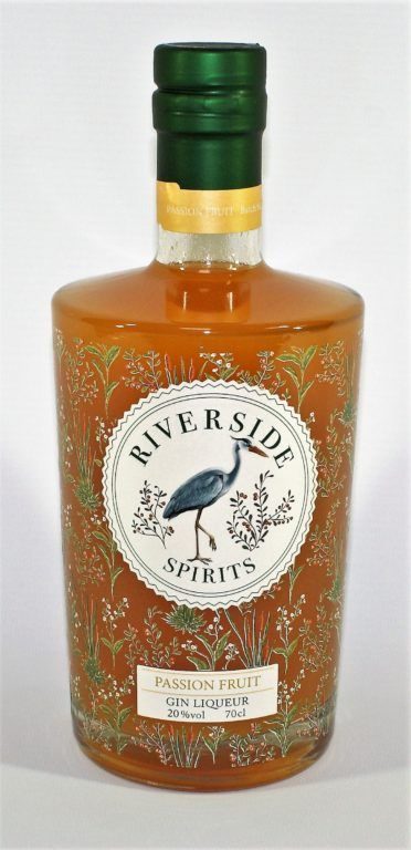 Riverside Passionfruit Gin Liquer 70cl bottle on white background