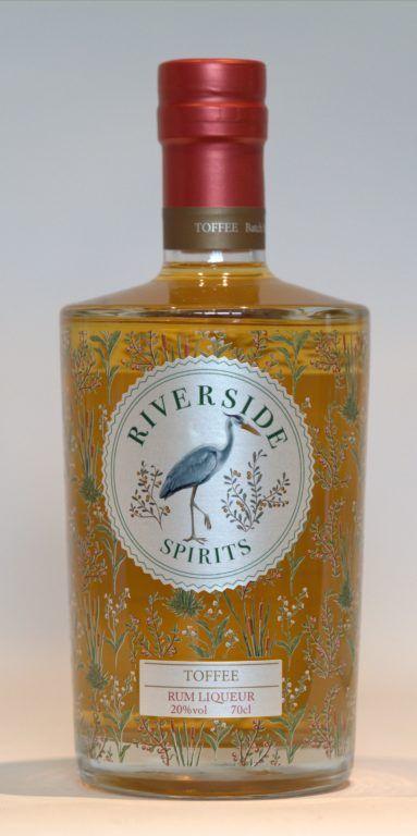 Riverside Spirits Toffee Rum Liqueur bottle on plain background
