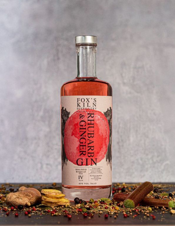 Rhubarb & Ginger Gin 70cl bottle surrounded with botanicals on grey background