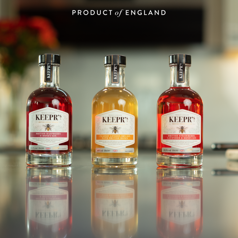 Keepr's Gin Gift Hamper 3x 20cl set bottles infront of a blurred background