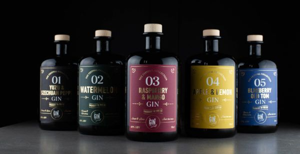 The Gin To My Tonic - The Festival Collection 5 bottle Bundle on black background