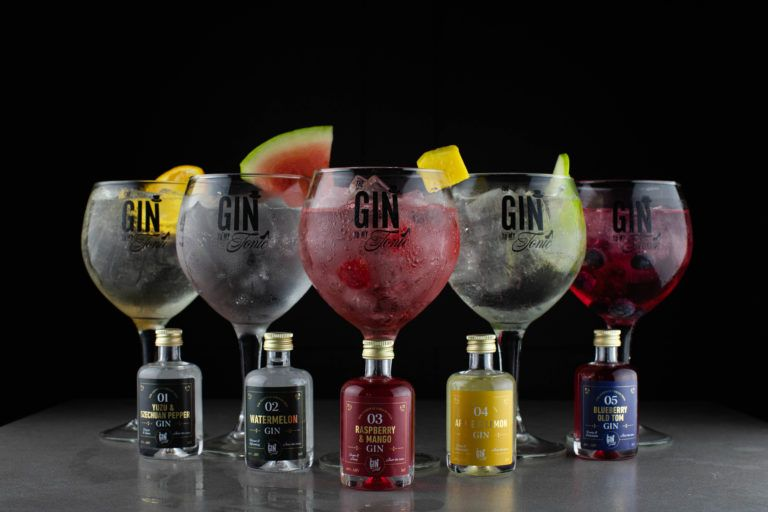 The Gin To My Tonic Miniature Set featuring five 5cl bottles and perfect serves on black background