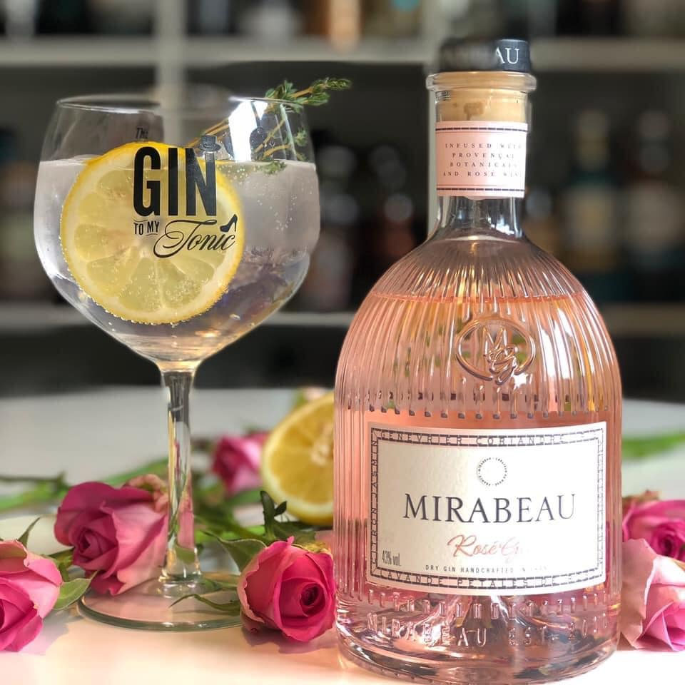 Mirabeau Rose Gin taken by the gin to my tonic with a perfect serve in copa glass